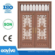 Luxury double entry security screen copper doors