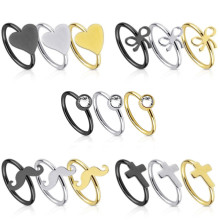 BCR Ring with Heart Bow Cross Moustache