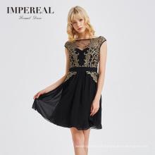 Hot design embroidered black ladies mini summer evening dress
