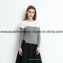 2 Farben Frauen Pure Cashmere Pullover mit Falbala