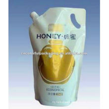 Standing spout pouch with handle for wholesale,honey spout pouch