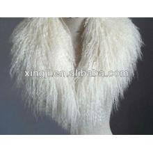 Collar de piel de cordero mongol de color natural de alta calidad