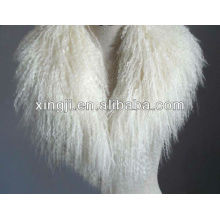 Col de fourrure d'agneau de mongole de couleur naturelle de qualité supérieure