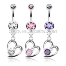 New products Navel ring belly ring heart gem dangle belly button rings