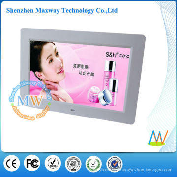 Graceful white 10 inch digital photo frame with lock