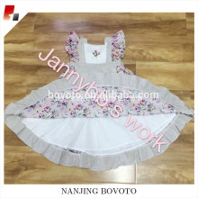 Apron dress with flutter sleeve&pink floral