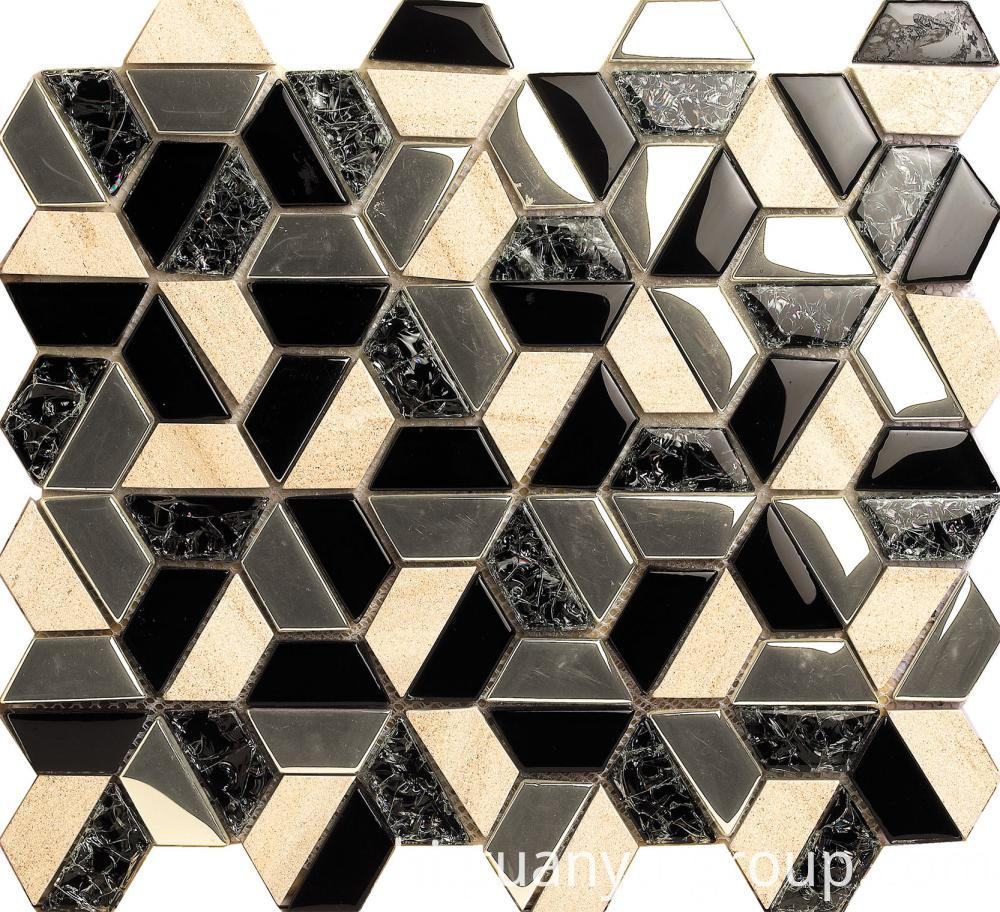 Black Cracked Glass Mixed With Beige Marble Mosaic