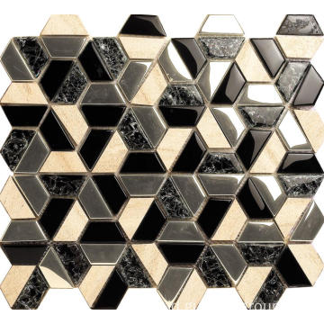 Desain Hexagon Glass Mosaic