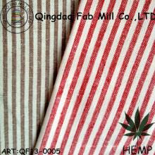 Пряжа-окрашенная конопляная / органическая хлопковая полосатая ткань (QF13-0005)