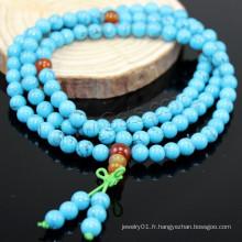 2015 Gets.com 108 perles japa mala, turquoise synthétique, avec l'agate rouge, ronde, 4 stran