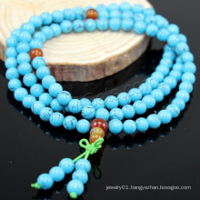 2015 Gets.com 108 beads japa mala, Synthetic Turquoise, with Red Agate, Round, 4-stran