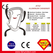 Bent Wire Gate 23KN Aluminum Climbing Carabiner With Ce Certificate
