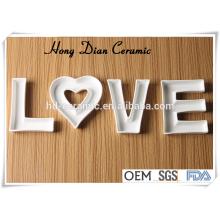 Prato de carta de cerâmica para presentes, prato para promoção, prato de carta de cerâmica em forma de alfabeto placa, Designs Ceramic Love Letter Dish
