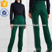 Gestreifte Woll-Twill Straight-Bein-Hosen Herstellung Großhandel Mode Frauen Bekleidung (TA3052P)