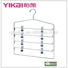 Multifuctional ahorro de espacio cromado colgador de faldón de metal con 4 niveles de clips
