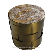 CANOSA table à café en coque d'eau douce chinoise avec cuivre doré