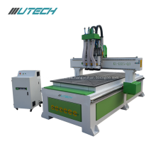Wood cabinet door CNC process center with three spindle