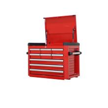 Caja de herramientas roja de 9 cajones con guías deslizantes