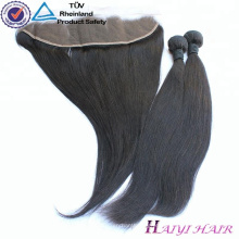 Frontão de seda de alta qualidade do laço do cabelo da base 13 * 4 da categoria da categoria 9A com cabelo natural do bebê
