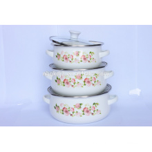 3pcs printing decal safety mini enamel cookware casserole sets with PP knob and glass Lid