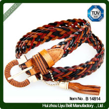 Mixed Color Braided Leather Belt Fashionable Braided Belt Supplier