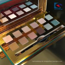 Elegantes Gold Farbe Karton Make-up Lidschatten-Palette mit Pinsel