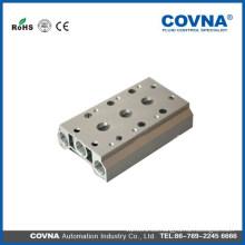 Válvula Solenoide Cuádruple Neumática con Base de Manifold Push In Conectores Silenciadores