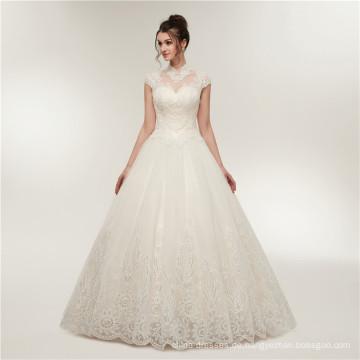 2018 Großhandel Brautkleid Top-Qualität neuen Stil China nach Maß OEM Hochzeitskleid für Mädchen mit hohem Hals und schweren Perlen