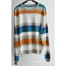 100% algodão em torno do pescoço listrado pulôver homens camisola