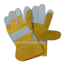 Cow Split Leather Double Palm Glove Rigger Safety Work Glove