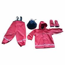 PU rojo sólido reflectante Rainwear para niños / bebé