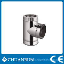 90 Degree T-Tube Double Wall Pipe for Pellet Stoves