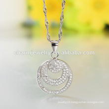Round Silver Necklace 2016 Wholesale Factory Product 925 Silver Necklace Designs Girls SCR015