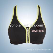 Sexy novo design confortável zip frente mulheres yoga desgaste