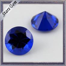 113 # Aqua Blue Round Machine Cut Factory Direct Sales Artificial Spinel Gemstone para la joyería