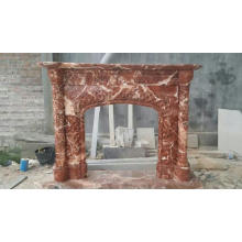 Large Size Fresh Red Marble Fireplace Mantel For Home