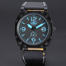 mininalist men watch with sub-dial winner leather band watch