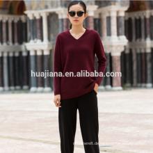 Kaschmir-Nylons Damen-Pullover mit V-Ausschnitt