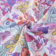 Tecido de malha simples CVC Tecido de lã com impressão personalizada