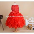2017 new design high quality beaded ball gown girl dress Middle long design puffy cake children girl dress