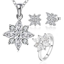925 Sterling Silver Plated Jewelry Set com Zircon Flower Shape Necklace Brinco e Anéis