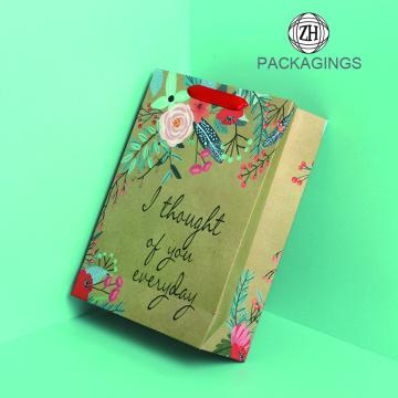Cheap brown kraft paper shopping bag packaging