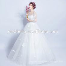 Venta caliente buena calidad barata barco escote vestidos de novia