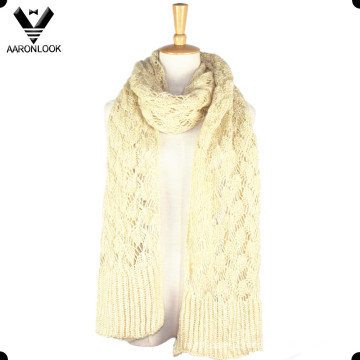 Mulheres Creme Cor Soft Crochet Knit Inverno Scarf