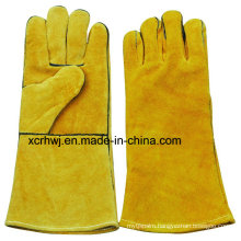 35cm Length High Quality Cow Split Leather Welding Gloves Supplier,Red Welding Safety Gloves,Long Leather Working Gloves,14′′lined Yellow Welding Gloves Factory