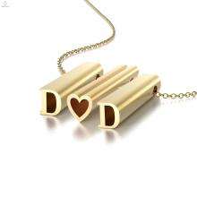 Festival Dad Mom Cadeaux 3D Design Amour Diy Gold Alphabet Charme Pendentif Collier