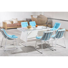 Outdoor dining set, aluminum frame, tempered-glass top, large round PE rattan, customizedNew