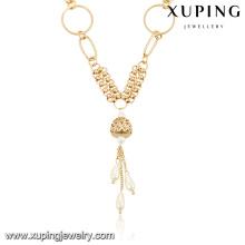 collar largo de moda de la joyería del collar del latón del color oro 18k