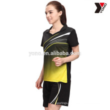 Venda quente personalizado sublimação badminton camisa polo e curto em estoque badminton jersey, mais recente projeto barato