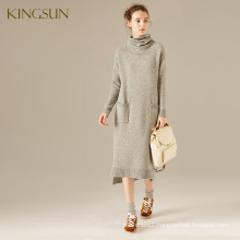 Ladies Fall and Winter Collection Wool and Cashmere Knitted Sweater Turtleneck Dress